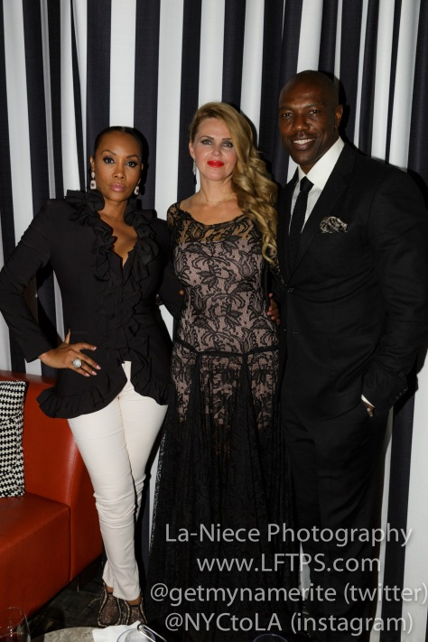 Vivica A. Fox, Startuch founder Evgenia Lorcy and Terrell Owens at the 1st Annual Startuch Charity Gala