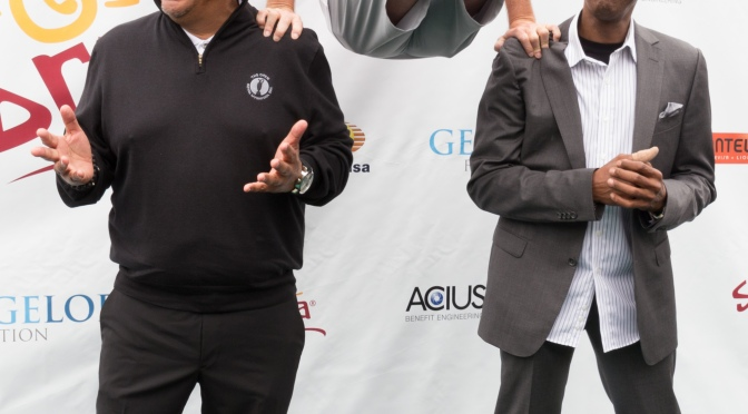George Lopez, Michael G. Wilson and Arsenio Hall at the 8th Annual George Lopez Celebrity Golf Tournament